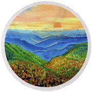 Blue Ridge Mountain Morn Round Beach Towel by Ecinja Art Works