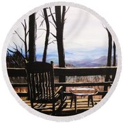 Blue Ridge Mountain Porch View Round Beach Towel