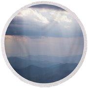 Blue Ridge Mountain Sun Ray Round Beach Towel by Serge Skiba