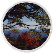 Round Beach Towel featuring the photograph Blue Ridge Mountain View by Debra Crank