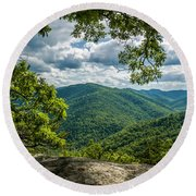 Blue Ridge Mountain View Round Beach Towel