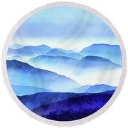 Blue Ridge Mountains Round Beach Towel