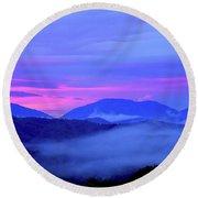 Blue Ridge Mountains Sunset Round Beach Towel