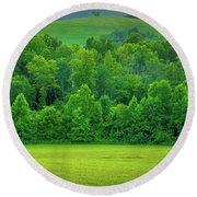 Blue Ridge Mountains Virginia   Round Beach Towel by Henri Irizarri
