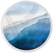 Round Beach Towel featuring the painting Blue Ridge Mountians by Edward Fielding