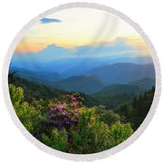 Blue Ridge Parkway And Rhododendron  Round Beach Towel