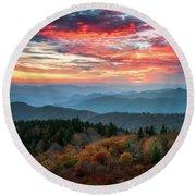 Blue Ridge Parkway Autumn Sunset Scenic Landscape Asheville Nc Round Beach Towel