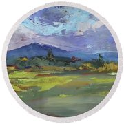 Blue Ridge Parkway Lookout Round Beach Towel