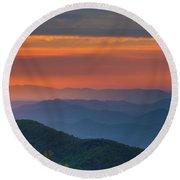 Blue Ridge Sunrise At Wintergreen  Round Beach Towel