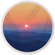 Blue Ridge Sunrise Round Beach Towel by Dale R Carlson