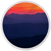 Blue Ridge Sunrise Round Beach Towel