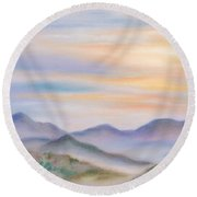 Blue Ridge Sunset In Spring Round Beach Towel