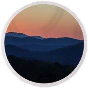 Blue Ridge Sunset Round Beach Towel