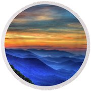 Round Beach Towel featuring the photograph Blue Ridges 2 Pretty Place Chapel View Great Smoky Mountains Art by Reid Callaway