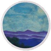 Blue Ridges Mist 1 Round Beach Towel