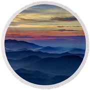 Round Beach Towel featuring the photograph Blue Ridges Pretty Place Chapel by Reid Callaway