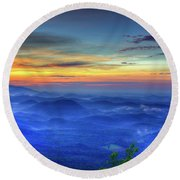 Round Beach Towel featuring the photograph Blue Ridges Pretty Place Chapel Wedding Venue Art  by Reid Callaway
