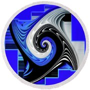 Round Beach Towel featuring the digital art Blue River by Shadowlea Is