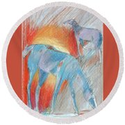 Blue Roans Round Beach Towel by Mary Armstrong