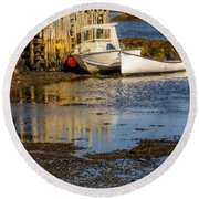 Blue Rocks, Nova Scotia Round Beach Towel by Ken Morris
