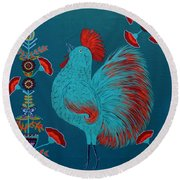 Blue Rooster Folk Art Round Beach Towel