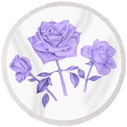 Round Beach Towel featuring the drawing Blue Rose by Elizabeth Lock
