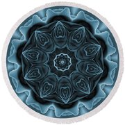 Blue Rose Mandala Round Beach Towel