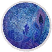 Blue Rosebud Ballroom Round Beach Towel by Adria Trail