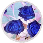 Blue Roses Abstract Round Beach Towel