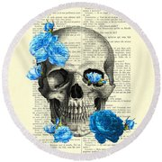 Blue Roses With Skull Art Print Round Beach Towel