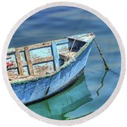 Blue Rowboat At Port San Luis 2 Round Beach Towel
