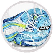 Blue Running Shoes Round Beach Towel