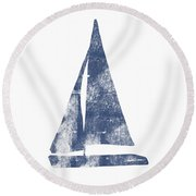 Blue Sail Boat- Art By Linda Woods Round Beach Towel