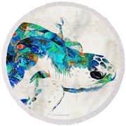 Blue Sea Turtle By Sharon Cummings  Round Beach Towel