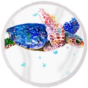 Blue Sea Turtle Round Beach Towel by Suren Nersisyan