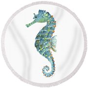 Blue Seahorse Round Beach Towel by Amy Kirkpatrick