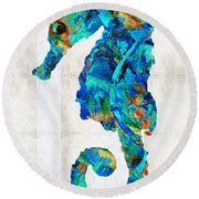 Blue Seahorse Art By Sharon Cummings Round Beach Towel