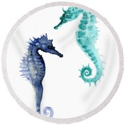 Blue Seahorses Watercolor Painting Round Beach Towel