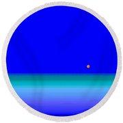 Round Beach Towel featuring the digital art Blue Seas by Val Arie