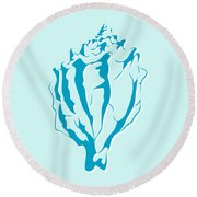 Blue Seashell Round Beach Towel