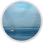 Blue Seattle Round Beach Towel by Susan Stone
