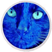 Blue Shadows Round Beach Towel