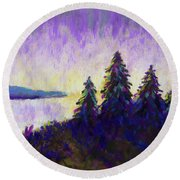 Blue Shadows At Dusk Round Beach Towel