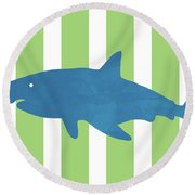 Blue Shark 1- Art By Linda Woods Round Beach Towel