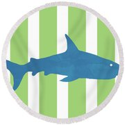 Blue Shark 2- Art By Linda Woods Round Beach Towel