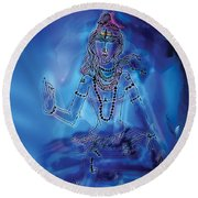 Blue Shiva  Round Beach Towel