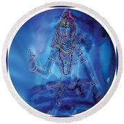Blue Shiva  Round Beach Towel