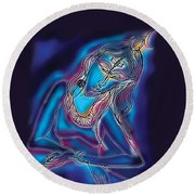 Blue Shiva Light Round Beach Towel