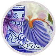 Blue Shoe, Painting Of A Painting Round Beach Towel