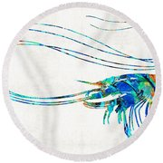 Blue Shrimp Art By Sharon Cummings Round Beach Towel